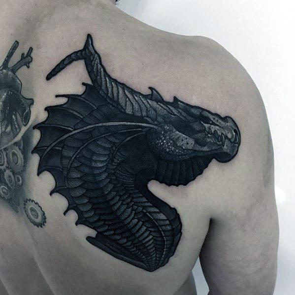 Mens Back Of Shoulder Dark Dragon Modern Tattoo