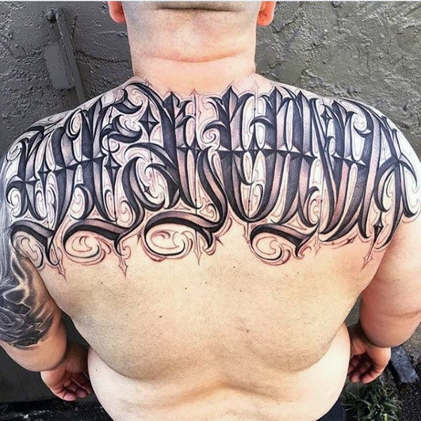 Mens Back Perfect Lettering Tattoo