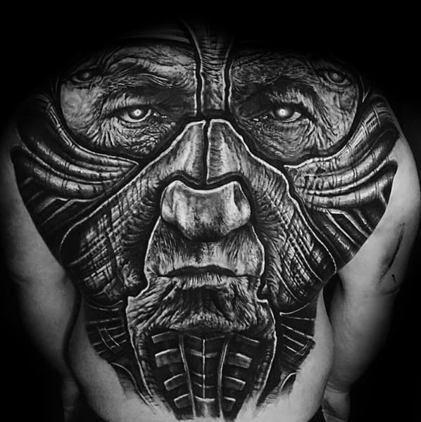 Mens Back Portrait Warrior Coolest Tattoo Ideas
