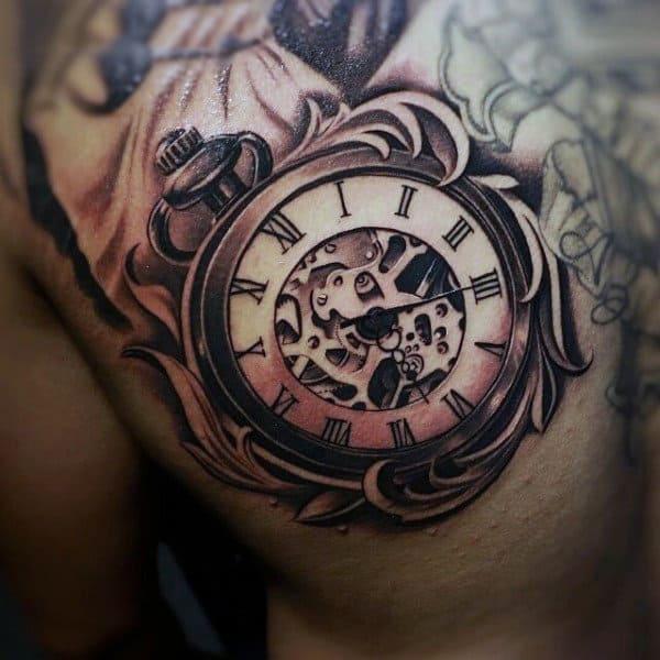 Mens Back Quaint Pocket Watch Tattoo