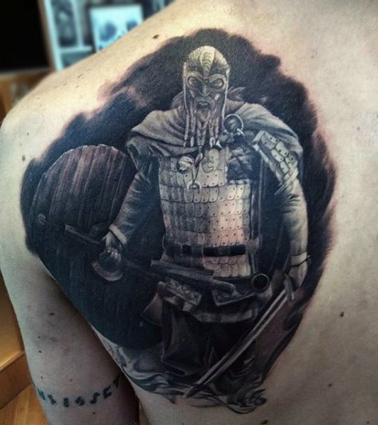 Mens Back Ready To Attack Warrior Tattoo