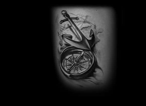 Mens Back Realistic Anchor And Compass 3d Tattoo Design Ideas