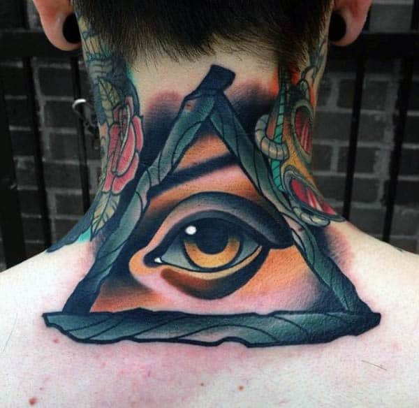 Mens Back Realistic Eye In Triangle Neo Traditonal Tattoo