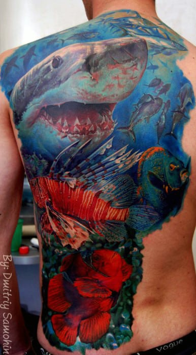 Mens Back Realistic Underwater Tattoo