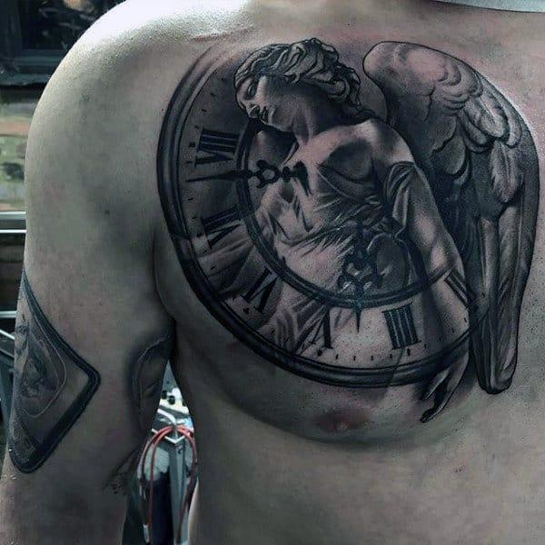 Mens Back Religious Clock Tattoo