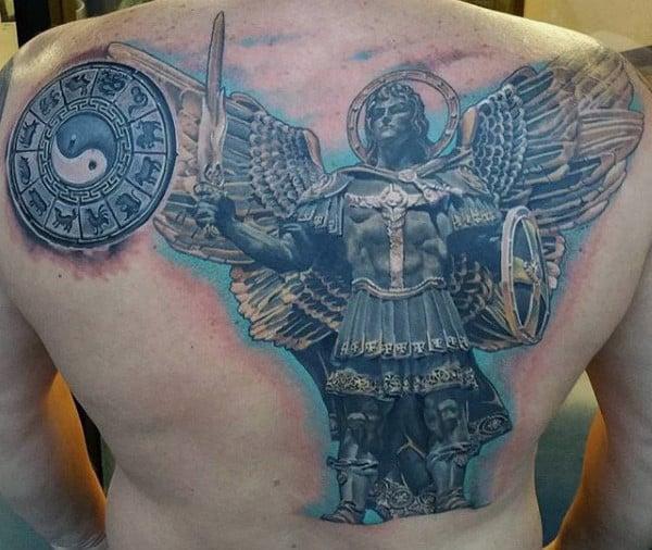 Mens Back Roman Era Guardian Angel Tattoo