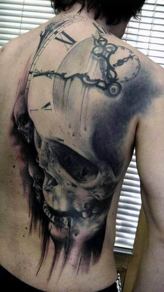 Men's Back Skull Clock Tattoos