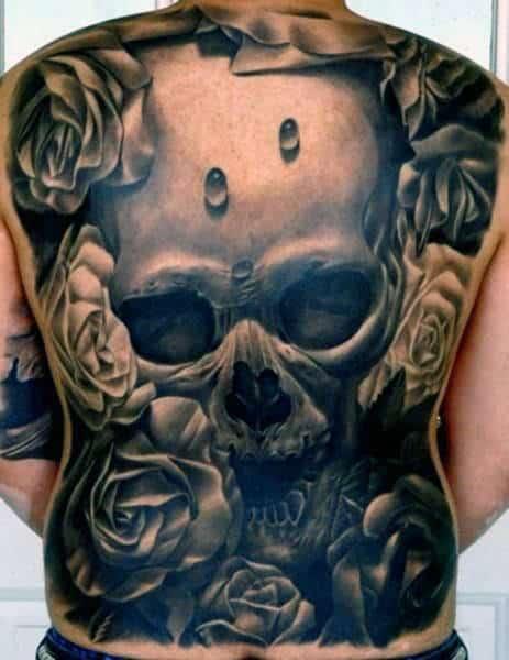 Men's Back Skull Tattoo Designs