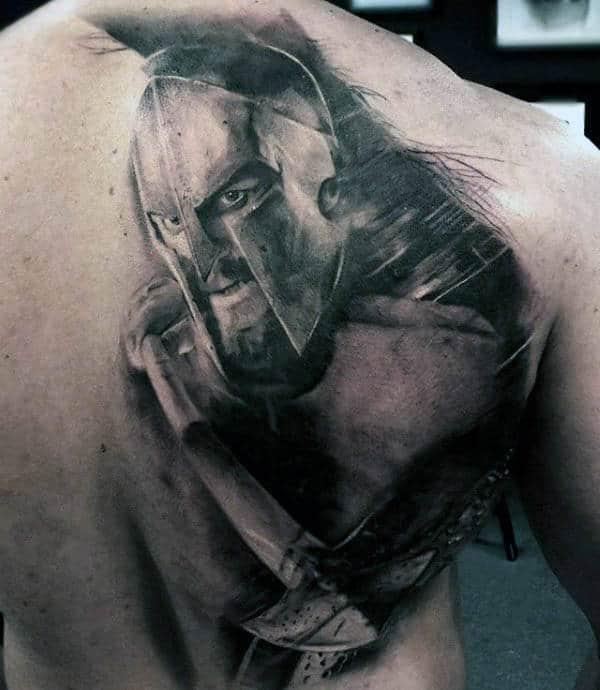 Mens Back Spear Shaded Realistic Tattoo Design
