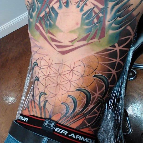Mens Back Symbolic Sacred Geometry Tattoo