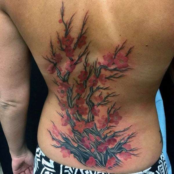 Mens Back Tattoo Of Cherry Blossom Tree