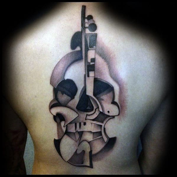 Mens Back Tattoo Of Cool Violin With Skull