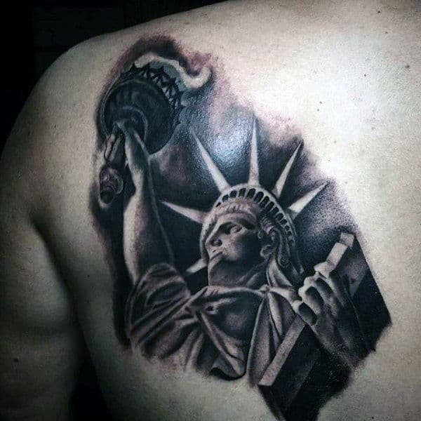Mens Back Tattoo Of Liberty Statue