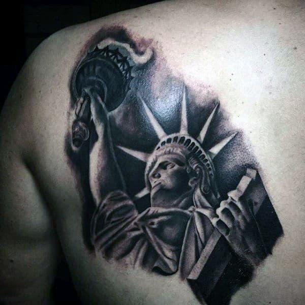 Mens Back Tattoo Of Liberty Statue