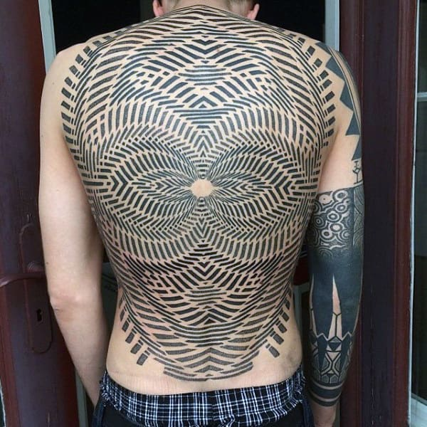Mens Back Tattoo Of Optical Illusion With Grid Illusion