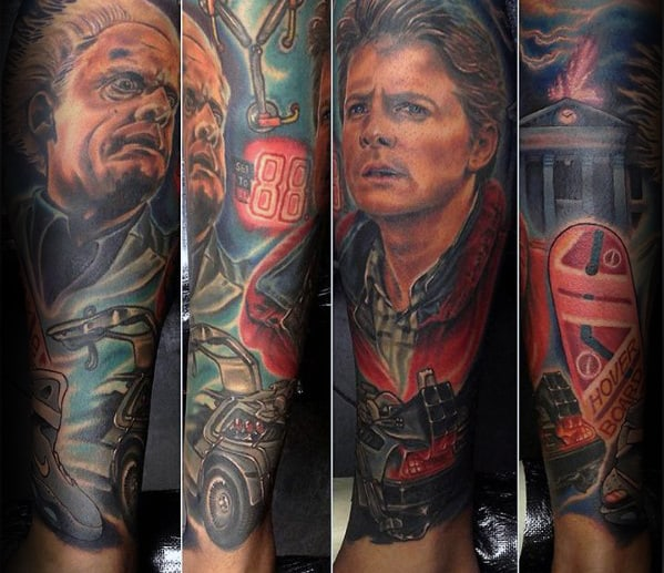 Mens Back To The Future Leg Sleeve Tattoos