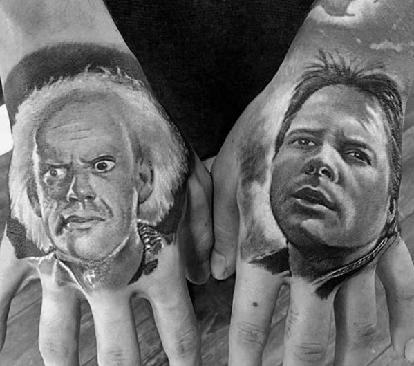 Mens Back To The Future Portrait Tattoos On Hands