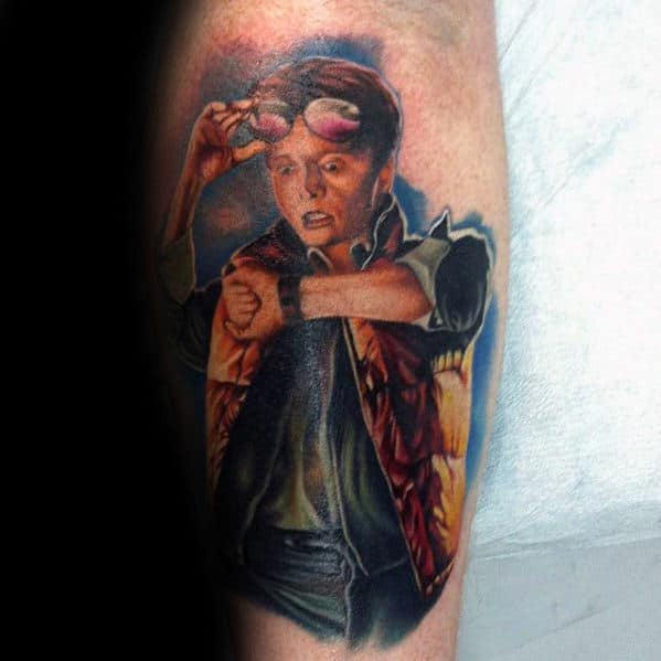 Mens Back To The Future Teen Marty Mcfly Leg Tattoo Designs