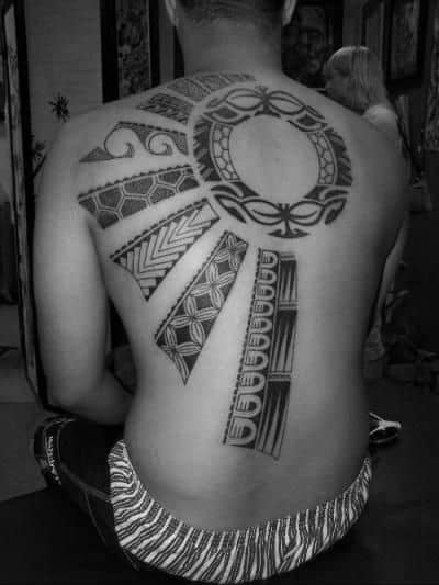 Mens Back Tribal Sun Tattoos With Rays