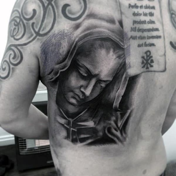 Mens Back Virgin Mary Dark Shaded Tattoo Designs
