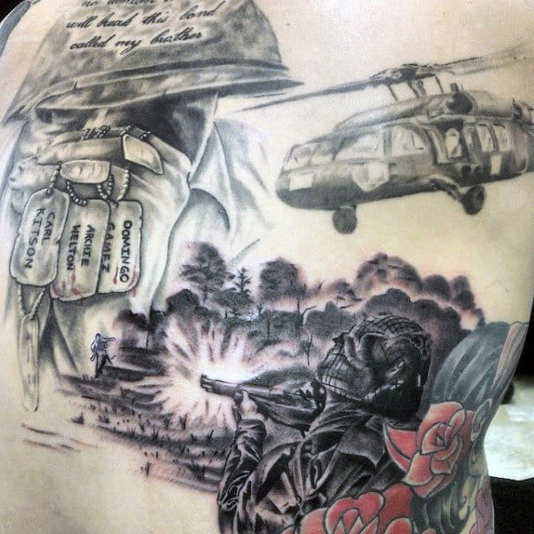 Mens Back War Dog Tag Tattoos