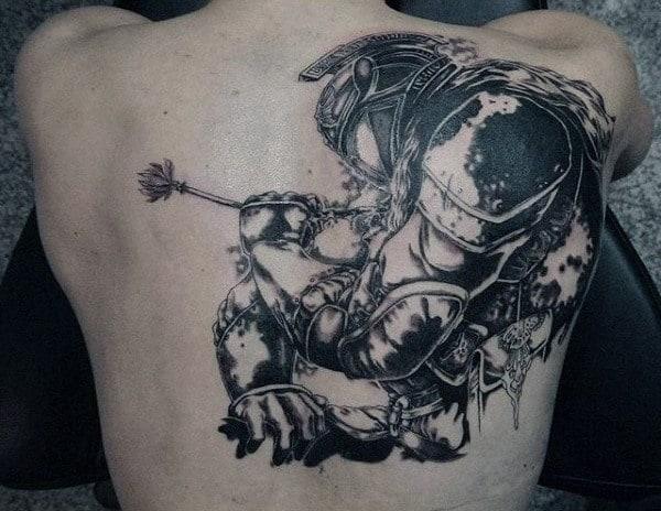 Mens Back Warrior With Arrow Piercing Heart Tattoo