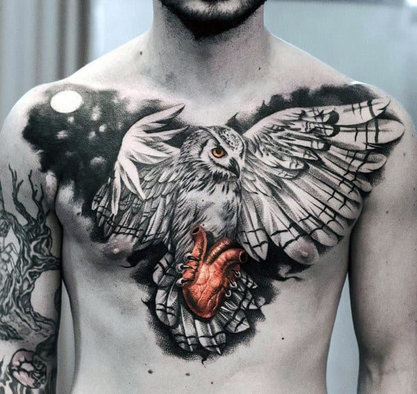 Mens Badass Chest Tattoos Of Owl With Glowing Red Heart