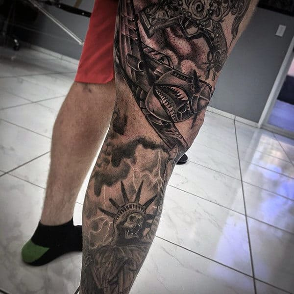 Mens Badass Leg Sleeve Tattoo With Fighter Plane And Statue Of Liberty