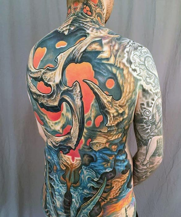 Mens Badass Modern 3d Full Back Tattoo Design Ideas