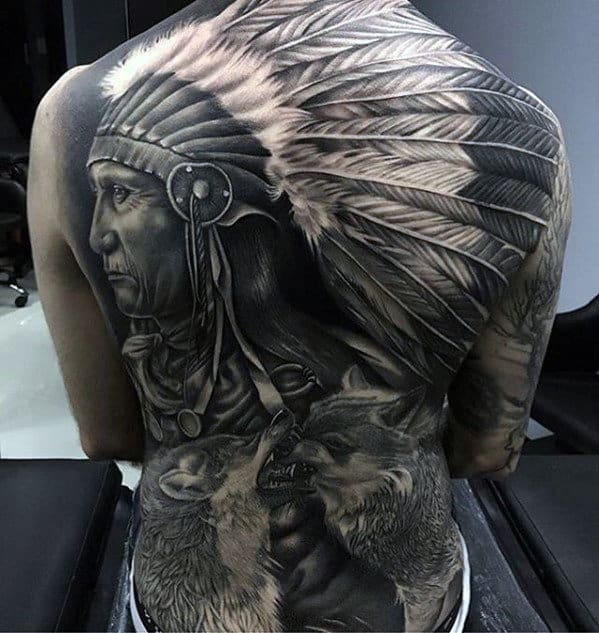 Mens Badass Native American Indian Themed Full Back Tattoos