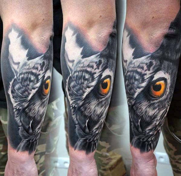 Mens Badass Owl 3d Outer Forearm Tattoos