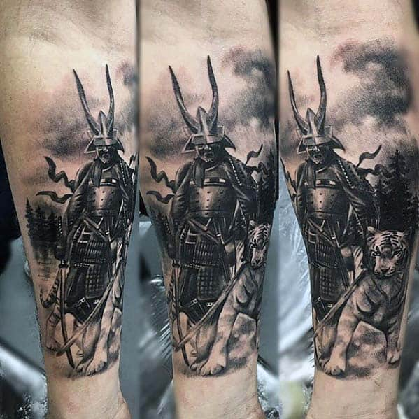 Mens Badass Samuari Warrior With Tiger Forearm Tattoo