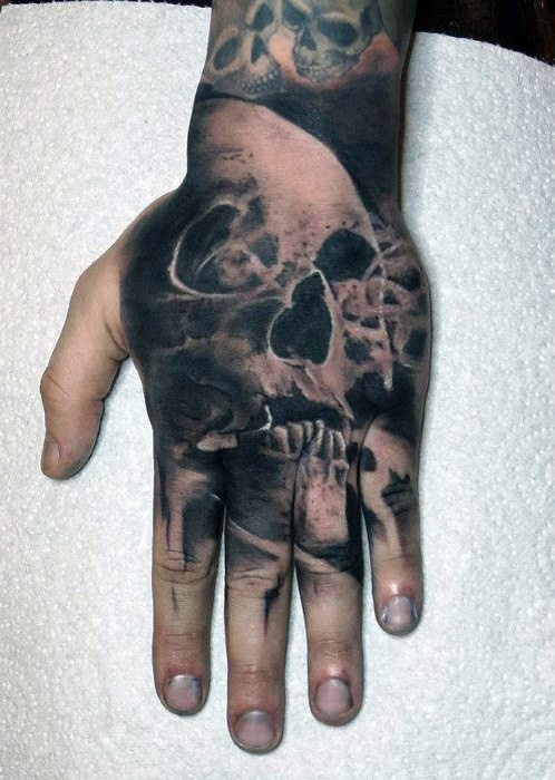Mens Badass Skull Hand Tattoo