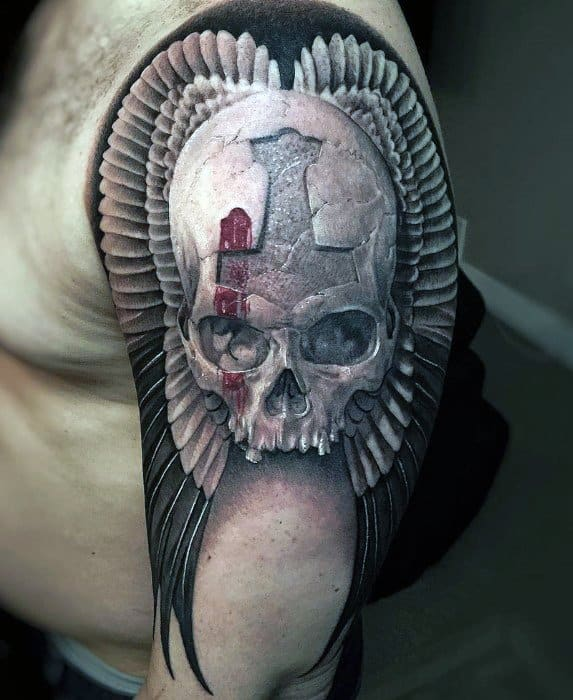 Mens Badass Skull Tattoo Design Inspiration