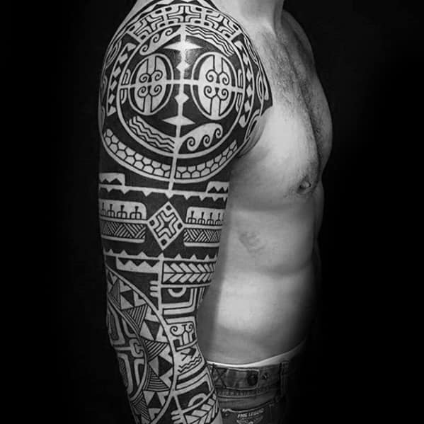 Mens Badass Tribal Tattoo Ideas Sleeve
