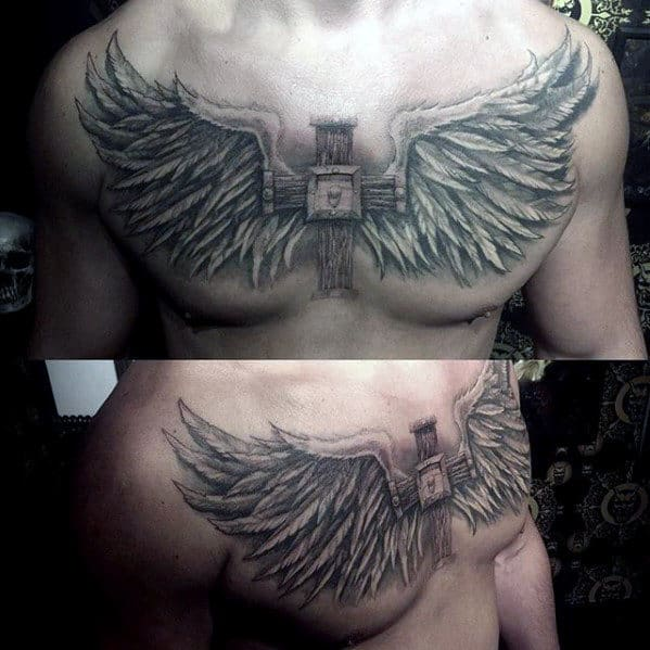 Mens Badass Wood Cross With Angel Wings Upper Chest Tattoos
