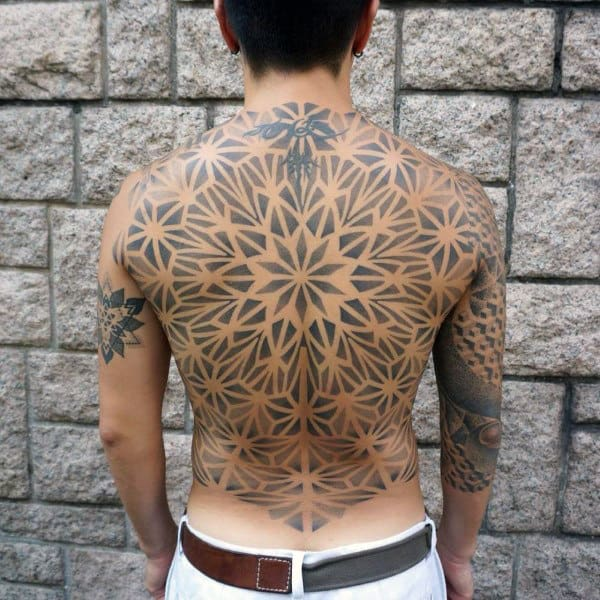 Mens Bak Cool Floral Tattoo
