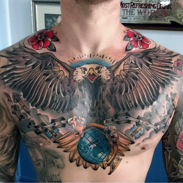 Mens Bald Eagle Globe Chest Tattoos