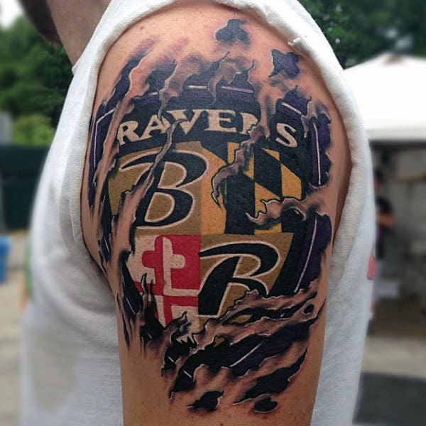 Mens Baltimore Ravens Football Ripped Skin Arm Tattoo