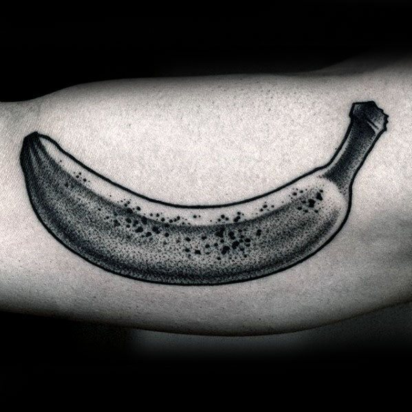 Mens Banana Tattoo Ideas With Dotwork Design On Inner Arm