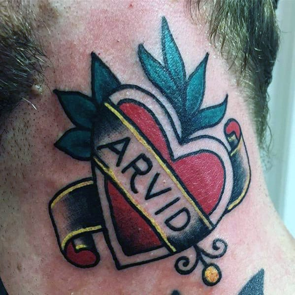 Mens Banner Name With Heart Traditional Neck Tattoo Ideas
