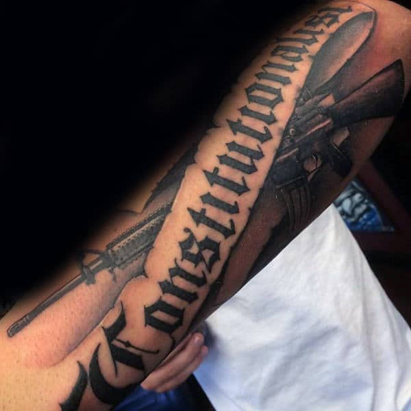 Mens Banner Old English Constitutionalist Forearm Tattoos