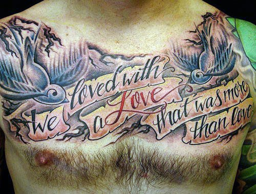 Mens Banner With Sparrows Chest Quote Tattoo Ideas
