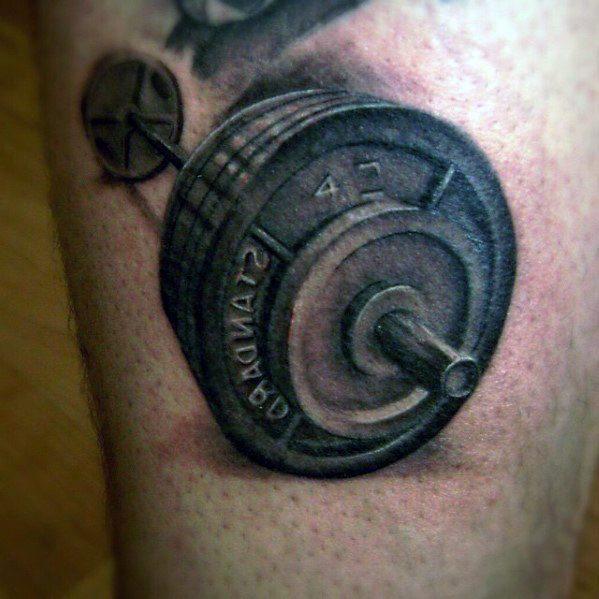 Mens Barbell Tattoo Design Inspiration