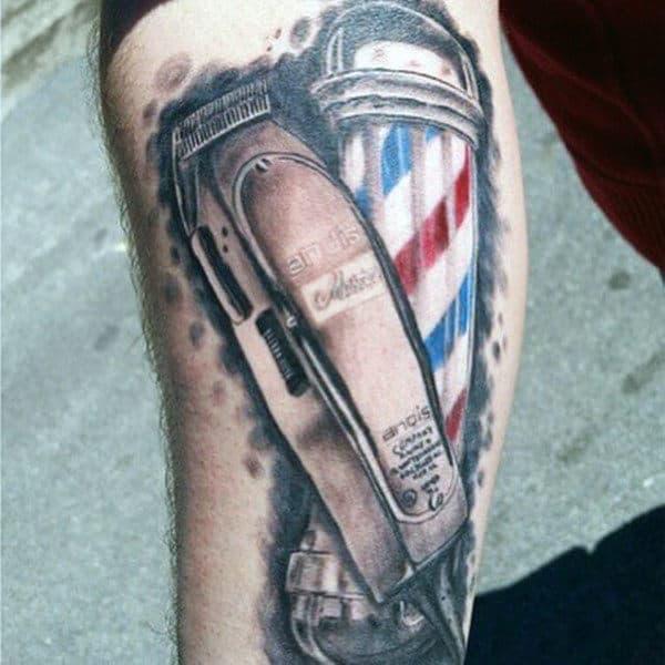 Mens Barber Pole Tattoo
