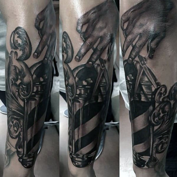 Mens Barber Shop Themed Tattoos In Black Ink