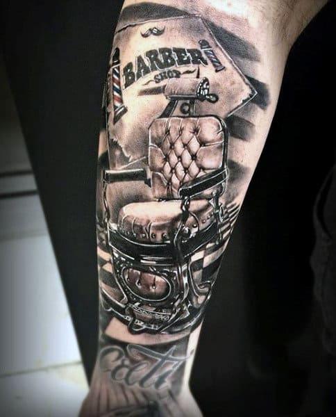 Mens Barber Tattoo Designs