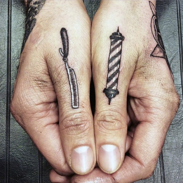 Mens Barbershop Pole With Straight Razor Thumb Tattoo