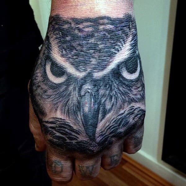 Men's Barn Owl Tattoo On Hands
