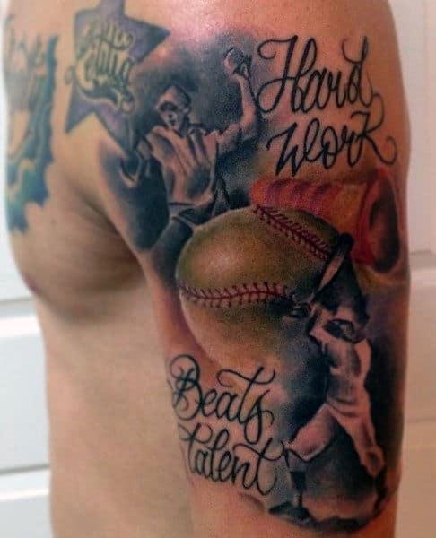 Men's Baseball Tattoo Ideas On Arms